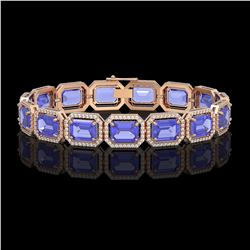36.37 CTW Tanzanite & Diamond Halo Bracelet 10K Rose Gold - REF-776F4N - 41532