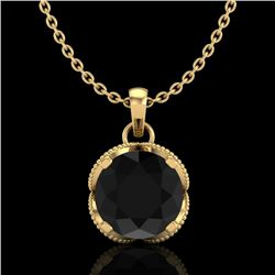 1.13 CTW Fancy Black Diamond Solitaire Art Deco Stud Necklace 18K Yellow Gold - REF-94N5Y - 37424