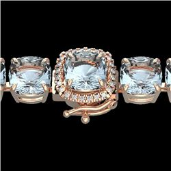 350 CTW Sky Blue Topaz & Micro VS/SI Diamond Halo Bracelet 14K Rose Gold - REF-139Y6K - 23328