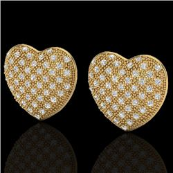 1.50 Designer CTW Micro Pave VS/SI Diamond Heart Earrings 14K Yellow Gold - REF-110A4X - 20178