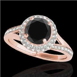 1.6 CTW Certified VS Black Diamond Solitaire Halo Ring 10K Rose Gold - REF-77X3T - 34118