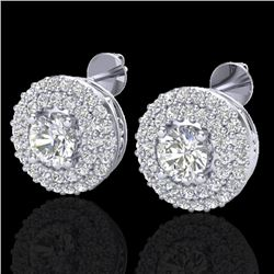 1.20 CTW Micro Pave VS/SI Diamond Earrings 18K White Gold - REF-118N2Y - 20197