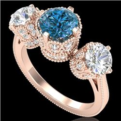 3.06 CTW Fancy Intense Blue Diamond Art Deco 3 Stone Ring 18K Rose Gold - REF-390W9F - 37391