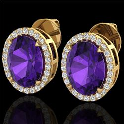 5.50 CTW Amethyst & Micro VS/SI Diamond Halo Earrings 18K Yellow Gold - REF-63W3F - 20238