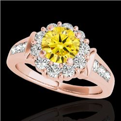 1.9 CTW Certified Si/I Fancy Intense Yellow Diamond Solitaire Halo Ring 10K Rose Gold - REF-206T4M -
