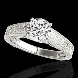 1.5 CTW H-SI/I Certified Diamond Solitaire Antique Ring 10K White Gold - REF-327M6H - 35191