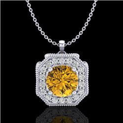 1.54 CTW Intense Fancy Yellow Diamond Art Deco Stud Necklace 18K White Gold - REF-290T9M - 38295