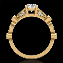 1.03 CTW VS/SI Diamond Solitaire Art Deco Ring 18K Yellow Gold - REF-203X6T - 36973