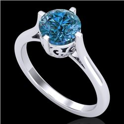 1.25 CTW Fancy Intense Blue Diamond Solitaire Art Deco Ring 18K White Gold - REF-218T2M - 38062