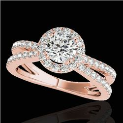 1.55 CTW H-SI/I Certified Diamond Solitaire Halo Ring 10K Rose Gold - REF-178K2W - 33847