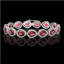 19.7 CTW Tourmaline & Diamond Halo Bracelet 10K White Gold - REF-391W5F - 41252