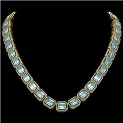 80.98 CTW Aquamarine & Diamond Halo Necklace 10K Yellow Gold - REF-1317M3H - 41500