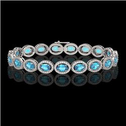 14.82 CTW Swiss Topaz & Diamond Halo Bracelet 10K White Gold - REF-230H4A - 40484