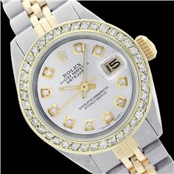 Rolex Ladies Two Tone 14K Gold/SS, Diamond Dial & Diamond Bezel, Sapphire Crystal - REF-434W4H