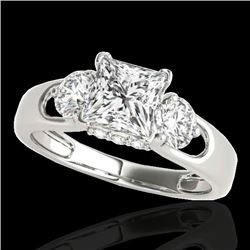 1.6 CTW VS/SI Certified Princess Cut Diamond 3 Stone Ring 10K White Gold - REF-385Y8K - 35421