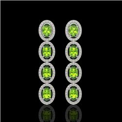 5.88 CTW Peridot & Diamond Halo Earrings 10K White Gold - REF-112T5M - 40529