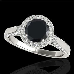 1.5 CTW Certified VS Black Diamond Solitaire Halo Ring 10K White Gold - REF-73K6W - 33565