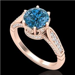 2.2 CTW Intense Blue Diamond Solitaire Engagement Art Deco Ring 18K Rose Gold - REF-314Y5K - 38091