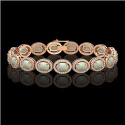 14.24 CTW Opal & Diamond Halo Bracelet 10K Rose Gold - REF-298F2N - 40617