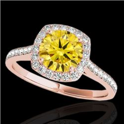 1.4 CTW Certified Si/I Fancy Intense Yellow Diamond Solitaire Halo Ring 10K Rose Gold - REF-227F3N -