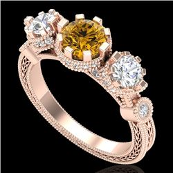 1.75 CTW Intense Fancy Yellow Diamond Art Deco 3 Stone Ring 18K Rose Gold - REF-227W3F - 37883