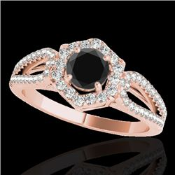 1.43 CTW Certified VS Black Diamond Solitaire Halo Ring 10K Rose Gold - REF-71A3X - 34020