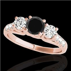 3.25 CTW Certified VS Black Diamond 3 Stone Ring 10K Rose Gold - REF-254A5X - 35452