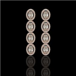 5.33 CTW Oval Diamond Designer Earrings 18K Rose Gold - REF-982M4H - 42621