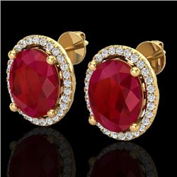 6 CTW Ruby & Micro Pave VS/SI Diamond Earrings Halo 18K Yellow Gold - REF-101K6W - 21063