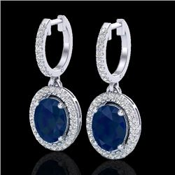 4.25 CTW Sapphire & Micro Pave VS/SI Diamond Earrings Halo 18K White Gold - REF-118K2W - 20333