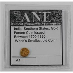India, Southern States Gold Fanam Coin. Issued Bet