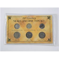 20th Century Nickel and Dime Type Set. USA
