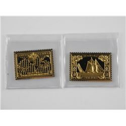 2x 24kt Gold Plated over 925 Silver Canada Postage