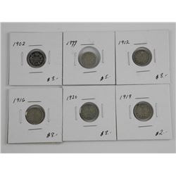 6x Canada Silver 5 Cents, Mixed George, Edward and