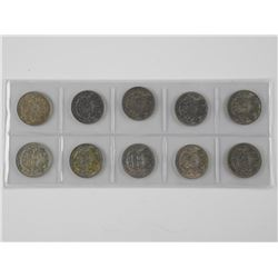 10x Canada Silver 50 Cent Coins. Mixed 1940-1950s