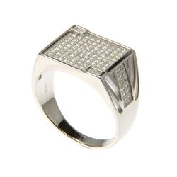 Gents - 925 Sterling Silver Ring Pave Set with Swa
