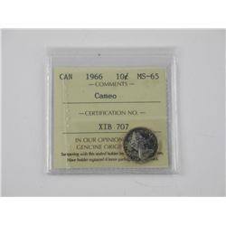 Canada 1966 Silver 10 cent. MS-65 ICCS