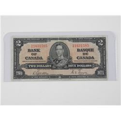 Bank of Canada 1937 - Two Dollar Note. GT/NB (MM)