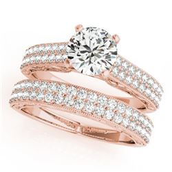 1.76 CTW Certified VS/SI Diamond Pave 2Pc Set Solitaire Wedding 14K Rose Gold - REF-249H5A - 32133