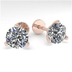 2.0 CTW Certified VS/SI Diamond Stud Earrings Martini 14K Rose Gold - REF-525A8X - 38316