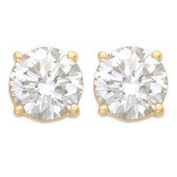 2.0 CTW Certified VS/SI Diamond Solitaire Stud Earrings 14K Yellow Gold - REF-480K8W - 13536