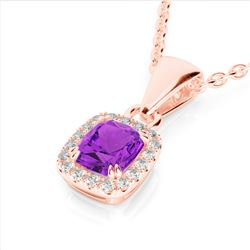 1.25 CTW Amethyst & Micro Pave VS/SI Diamond Halo Necklace 10K Rose Gold - REF-28T8M - 22876