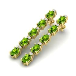 10.36 CTW Peridot & VS/SI Certified Diamond Earrings 10K Yellow Gold - REF-65N8Y - 29402