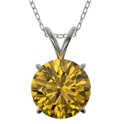 2 CTW Certified Intense Yellow SI Diamond Solitaire Necklace 10K White Gold - REF-492N2Y - 33238