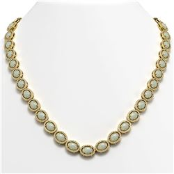 32.42 CTW Opal & Diamond Halo Necklace 10K Yellow Gold - REF-670K8W - 40570