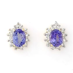 4.25 CTW Tanzanite & Diamond Earrings 14K Yellow Gold - REF-98Y5K - 10257