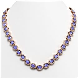40.53 CTW Tanzanite & Diamond Halo Necklace 10K Rose Gold - REF-845K8W - 41052