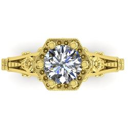 1 CTW Solitaire Certified VS/SI Diamond Ring 14K Yellow Gold - REF-287T3M - 38531