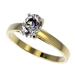 1 CTW Certified VS/SI Quality Oval Diamond Solitaire Ring 10K Yellow Gold - REF-297H2A - 32993