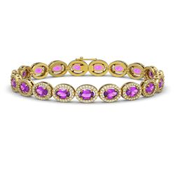13.11 CTW Amethyst & Diamond Halo Bracelet 10K Yellow Gold - REF-229Y3K - 40492